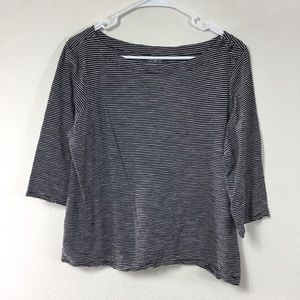 ANN TAYLOR LOFT STRIPED BUTTON NECK TEE